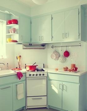 欧式浪漫绿色厨房厨柜图片