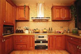 红色美式风格厨房橱柜装潢设计