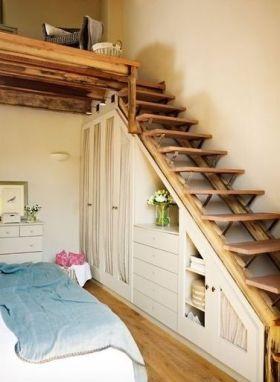 素雅清爽混搭风格楼梯间收纳装潢设计