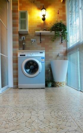 黄色新中式风格阳台洗衣机摆放效果图