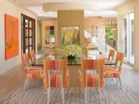 橙色混搭风格餐厅装饰图