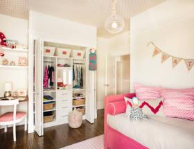 混搭风格白色儿童房衣柜效果图设计