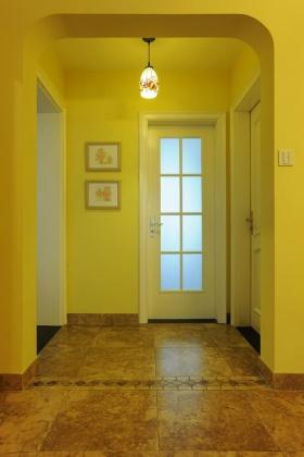 黄色地中海风格浪漫玄关设计装潢