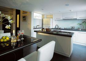 混搭风格白色开放式厨房装潢案例