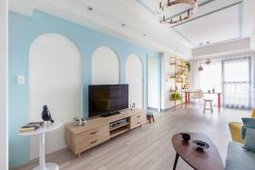 清新简约混搭风格蓝色客厅背景墙设计欣赏