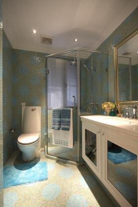 清新复古新古典风格蓝色卫生间装饰图