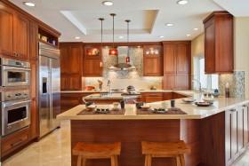 2016原木大气美式风格厨房效果图设计