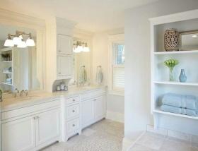 纯白极致简约风卫生间浴室柜装潢设计