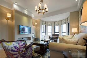 米色美式风格客厅背景墙装潢设计