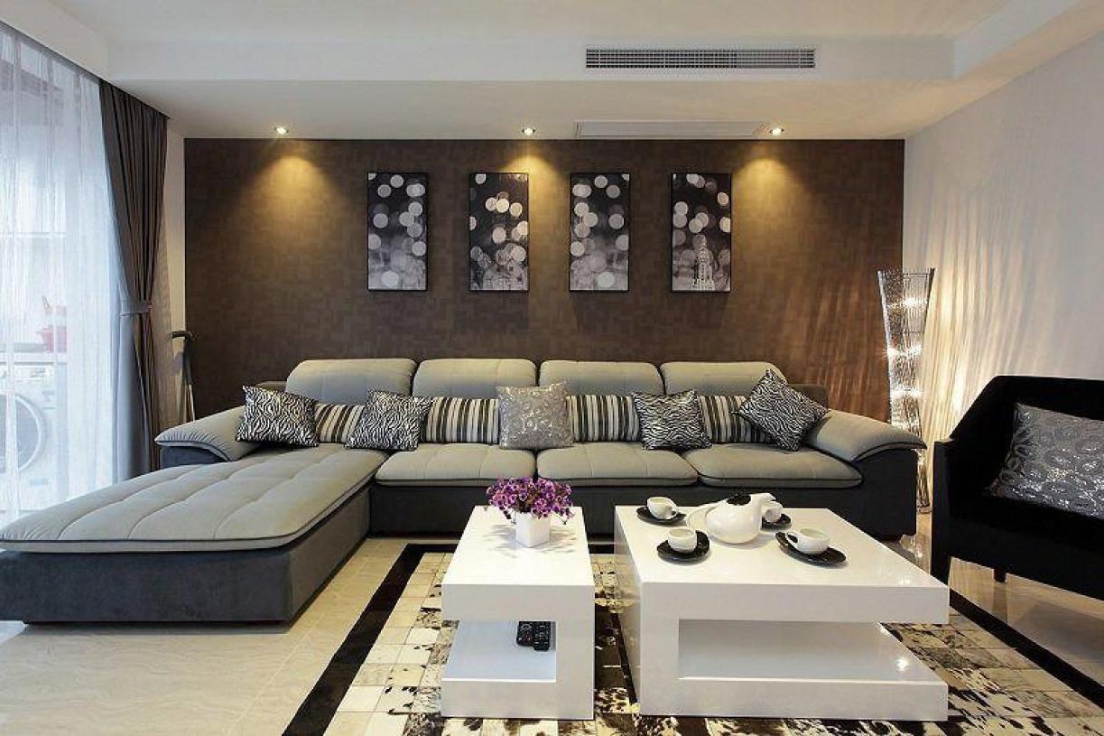 褐色简约风格客厅沙发背景墙设计赏析