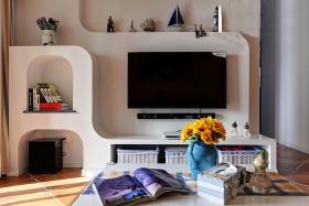 清爽地中海风格客厅背景墙装修效果图片