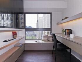 米色现代风格书房飘窗设计图片