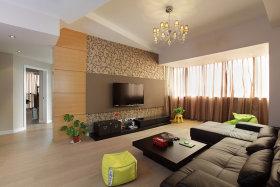 橙色新中式风格客厅背景墙装饰案例