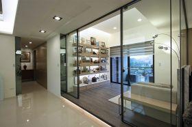 灰色通透时尚现代风格透明隔断效果图设计