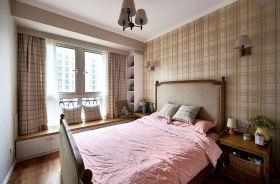 田园风格清新米色卧室飘窗效果图欣赏