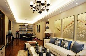 黄色中式风格客厅装修图片