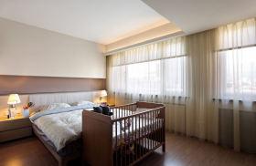 简约现代清爽卧室窗帘设计图
