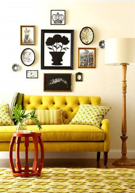 黄色雅致时尚混搭风格照片墙效果图设计
