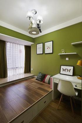 个性绿色美式风格书房榻榻米设计图片