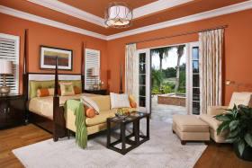创意时尚橙色美式风格卧室效果图欣赏