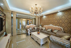 黄色欧式风格客厅沙发背景墙装饰图