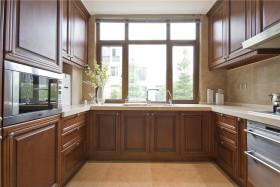 原木雅致时尚美式风格厨房橱柜设计装潢