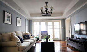 美式风格灰色客厅设计案例