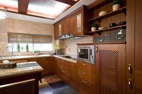 褐色美式风格厨房橱柜装潢