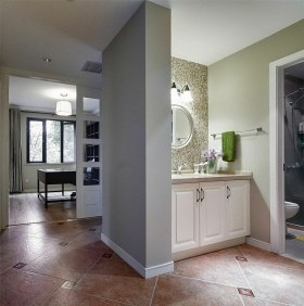 美式灰色盥洗室设计图