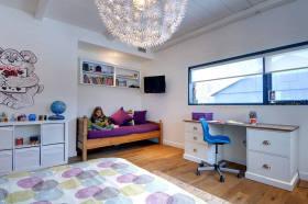 紫色温馨简约风格儿童房装饰图