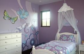 紫色简欧风格儿童房壁画装饰案例