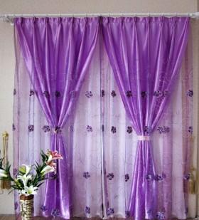 浪漫紫色混搭窗帘效果图欣赏