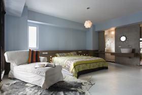 蓝色东南亚风格卧室背景墙装修图片欣赏