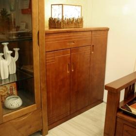 复古原木新中式风格鞋柜图片欣赏