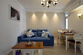 蓝色简约风格小客厅沙发图片欣赏