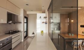 米色现代风格厨房吧台隔断装饰图