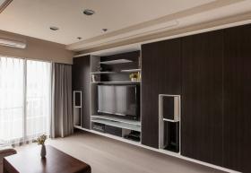 雅致现代风格黑色客厅背景墙效果图设计