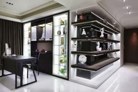 黑色简约风格书房装饰柜欣赏