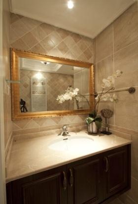 米色混搭风格卫生间浴室柜效果图设计