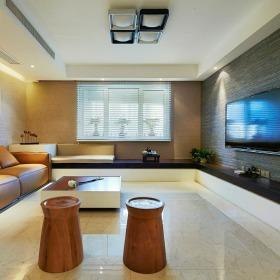 米色日式风格客厅飘窗效果图设计