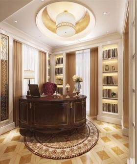 复古奢华美式风格原木淡雅书房欣赏