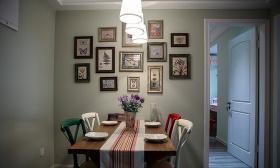 美式清新绿色照片墙餐厅欣赏