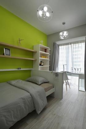 绿色素雅简约风格卧室装潢案例