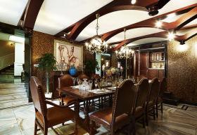 褐色新古典风格餐厅吊顶效果图欣赏