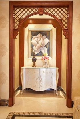 橙色中式风格玄关装饰设计图片