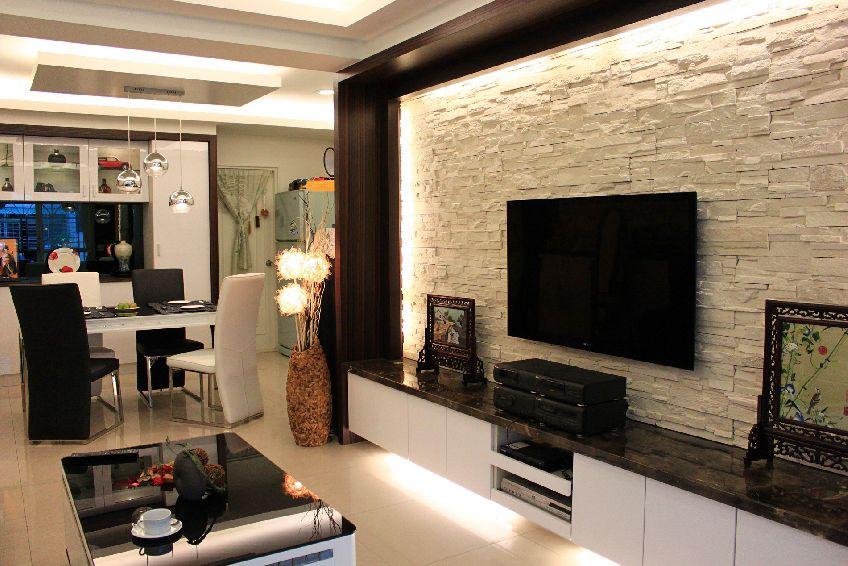 2016时尚淡雅现代米色客厅装潢设计图
