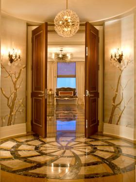 黄色奢华欧式风格玄关装饰设计图片