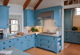 个性蓝色美式风格厨房橱柜装潢设计