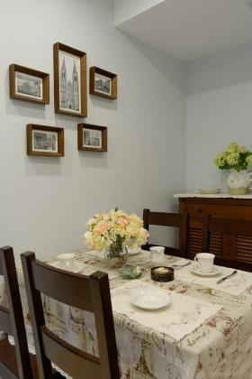 白色美式田园风格餐厅照片墙设计图片