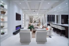 白色现代风格客厅吊顶装饰案例